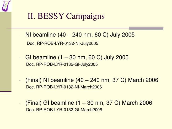 II. BESSY Campaigns