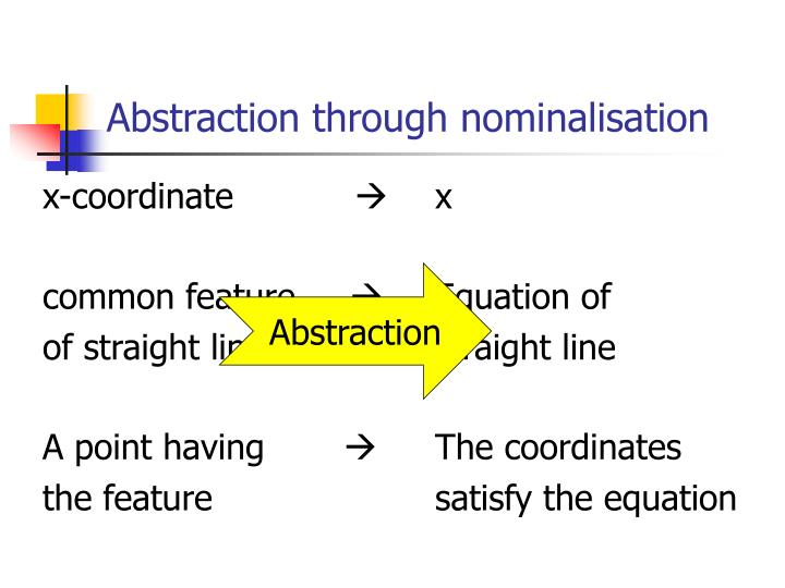 Abstraction through nominalisation