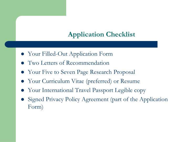 Application Checklist