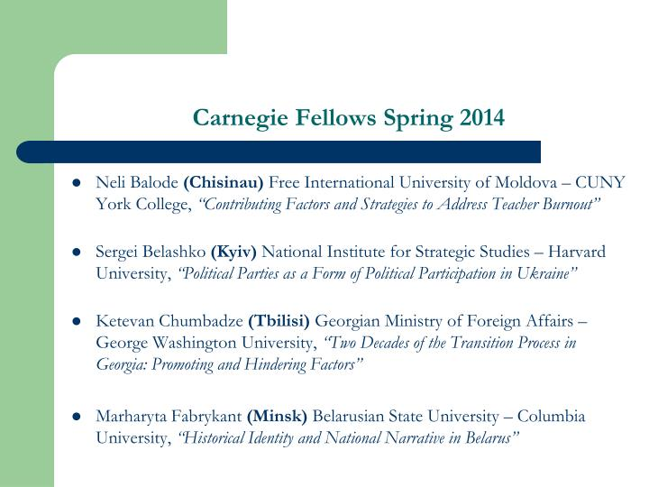 Carnegie Fellows Spring 2014
