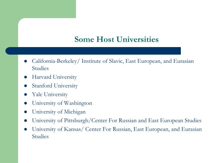 Some Host Universities
