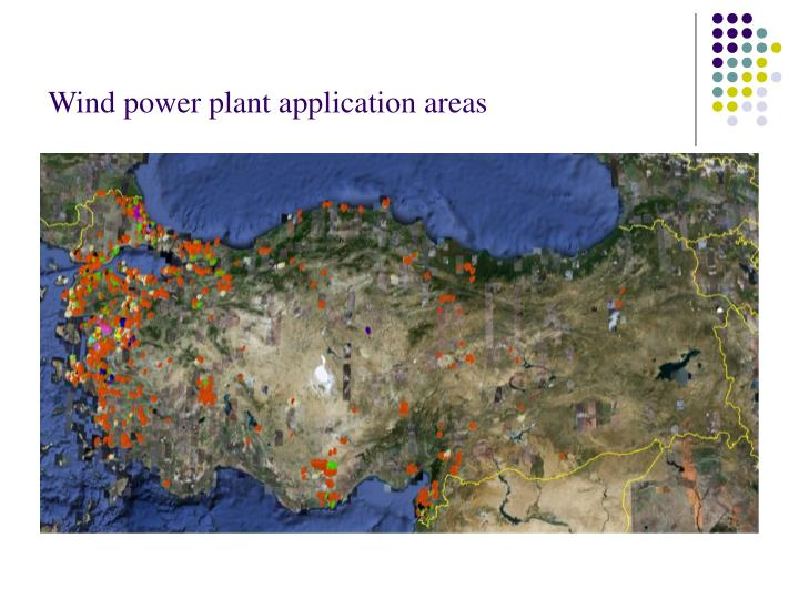 Wind power plant application areas