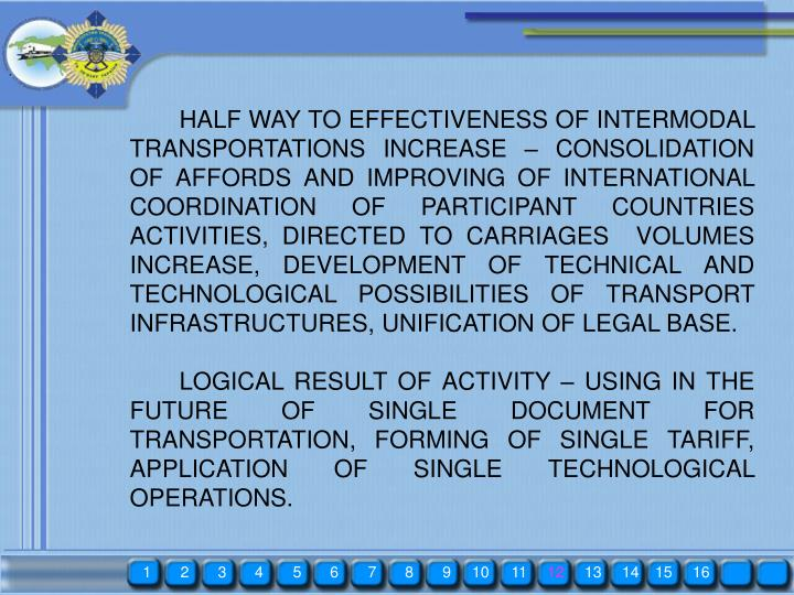 HALF WAY TO EFFECTIVENESS OF INTERMODAL TRANSPORTATIONS INCREASE – CONSOLIDATION OF AFFORDS AND IMPROVING OF INTERNATIONAL COORDINATION OF PARTICIPANT COUNTRIES ACTIVITIES, DIRECTED TO CARRIAGES  VOLUMES INCREASE, DEVELOPMENT OF TECHNICAL AND TECHNOLOGICAL POSSIBILITIES OF TRANSPORT INFRASTRUCTURES, UNIFICATION OF LEGAL BASE.