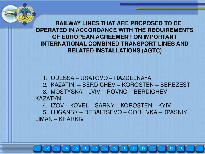 RAILWAY LINES THAT ARE PROPOSED TO BE OPERATED IN ACCORDANCE WITH THE REQUIREMENTS OF EUROPEAN AGREEMENT ON IMPORTANT INTERNATIONAL COMBINED TRANSPORT LINES AND RELATED INSTALLATIONS (AGTC)