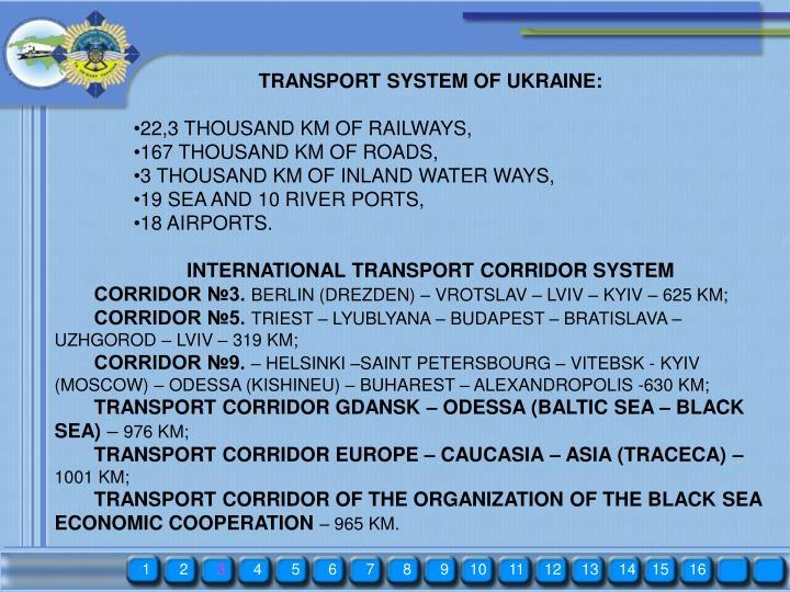 TRANSPORT SYSTEM OF UKRAINE: