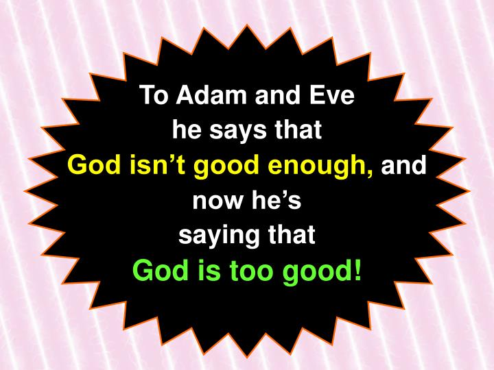 To Adam and Eve