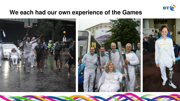 We each had our own experience of the Games