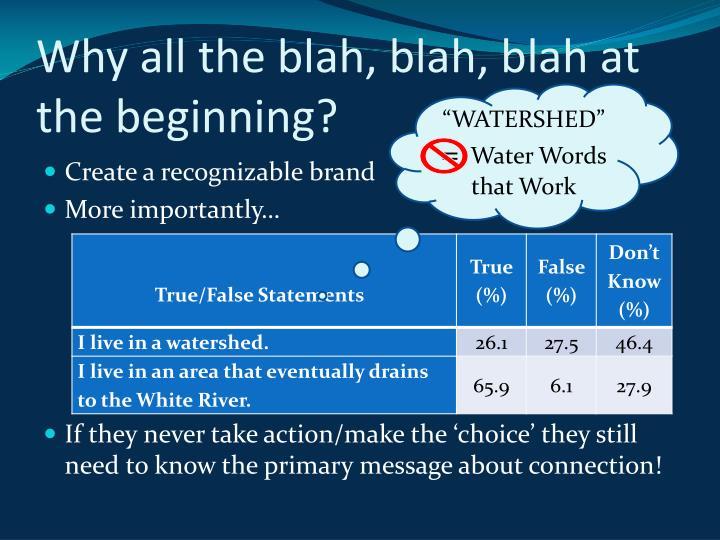 Why all the blah, blah, blah at the beginning?