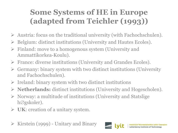 Some Systems of HE in Europe