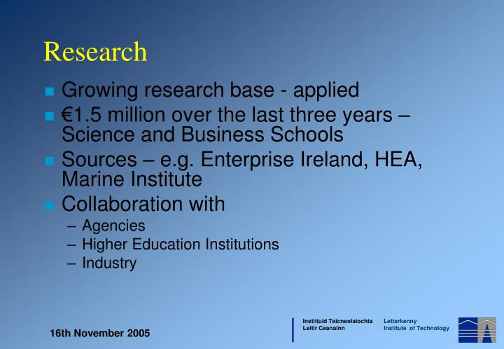 Growing research base - applied