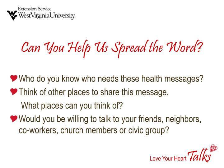 Can You Help Us Spread the Word?