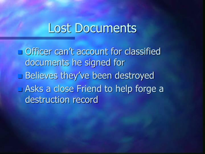 Lost Documents