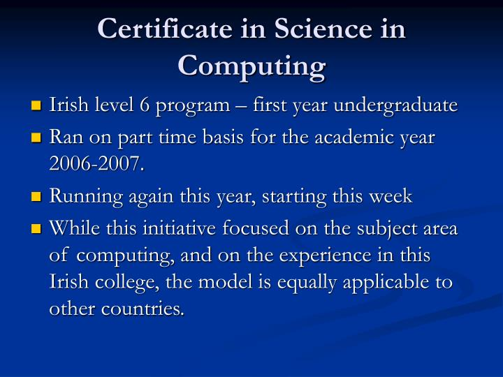 Certificate in Science in Computing