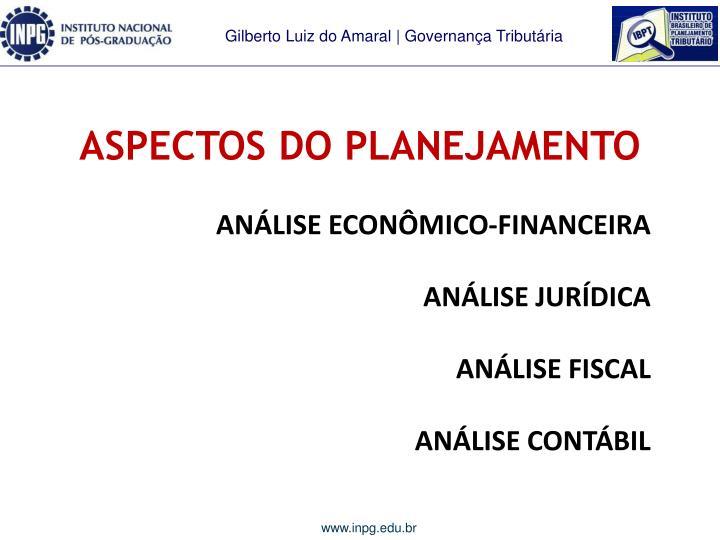 ASPECTOS DO PLANEJAMENTO