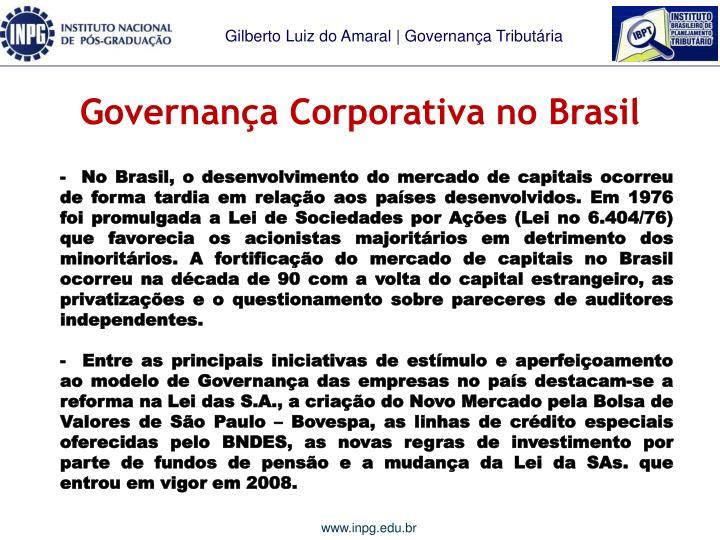 Governança Corporativa no Brasil