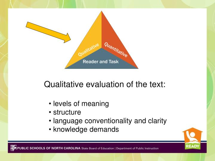 Qualitative evaluation of the text: