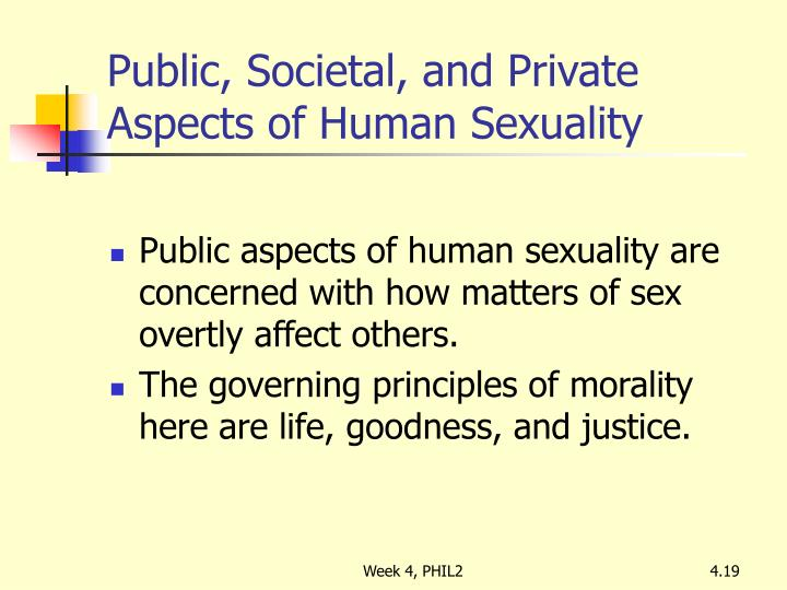 Public, Societal, and Private Aspects of Human Sexuality