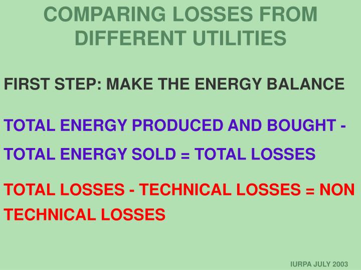 COMPARING LOSSES FROM DIFFERENT UTILITIES