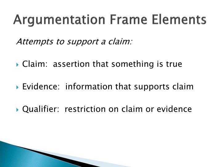 Argumentation Frame Elements