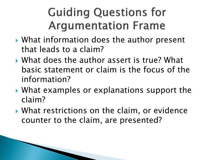 Guiding Questions for Argumentation Frame