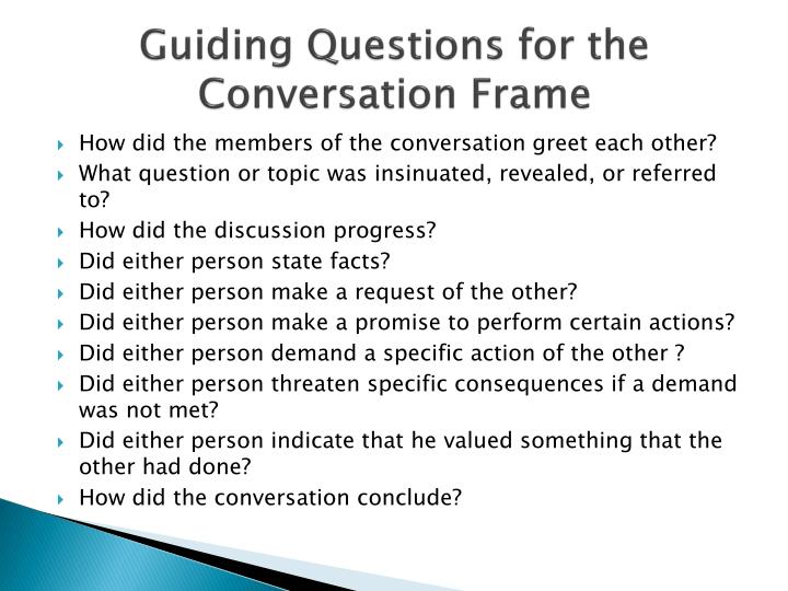 Guiding Questions for the Conversation Frame