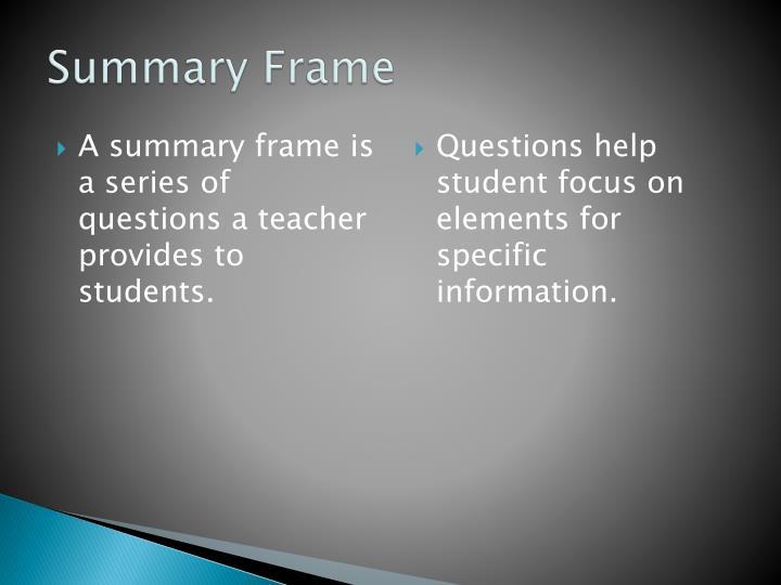Summary Frame