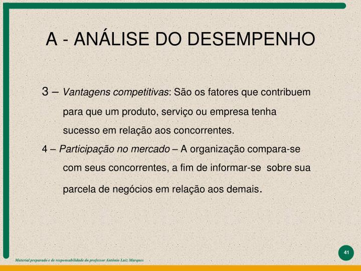 A - ANÁLISE DO DESEMPENHO