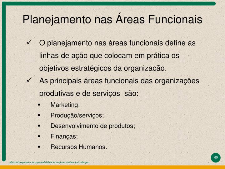Planejamento nas Áreas Funcionais