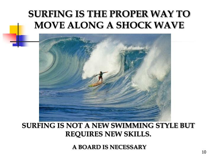 SURFING IS THE PROPER WAY TO MOVE ALONG A SHOCK WAVE