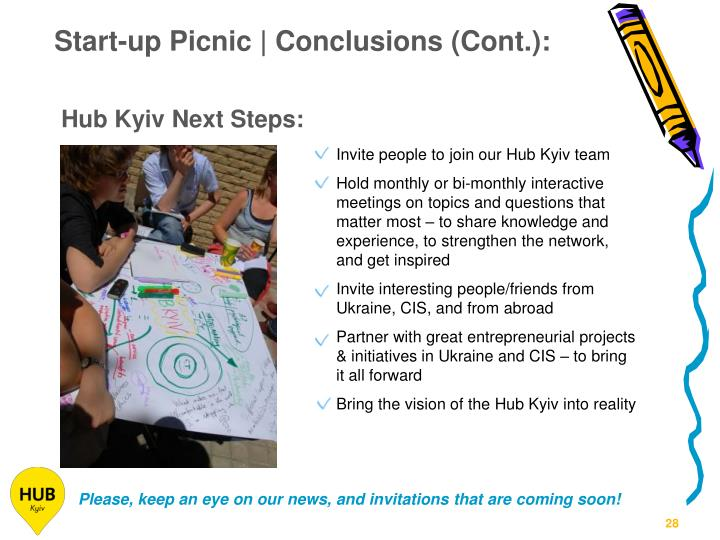 Start-up Picnic | Conclusions (Cont.):