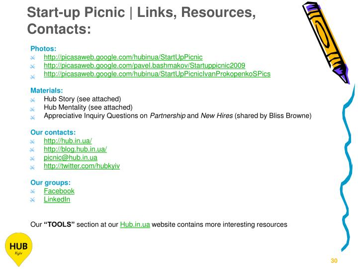 Start-up Picnic | Links, Resources, Contacts: