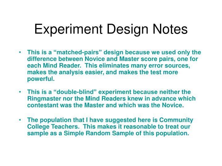 Experiment Design Notes