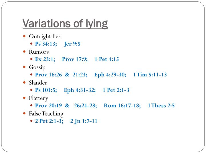 Variations of lying