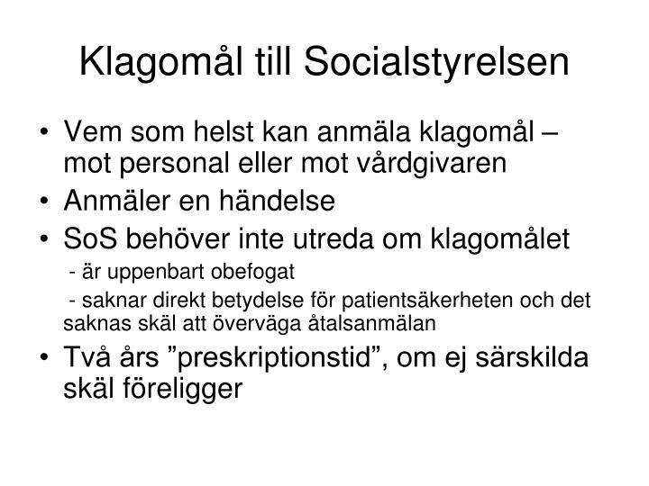 Klagomål till Socialstyrelsen