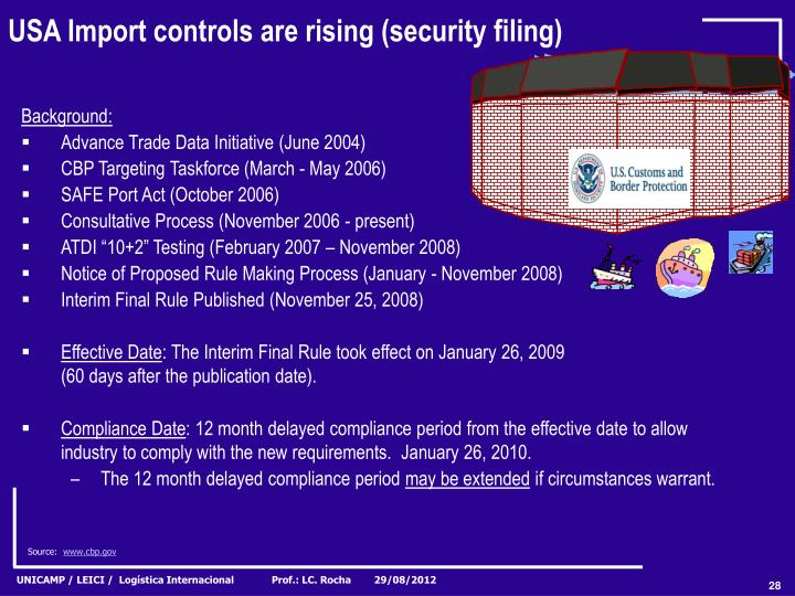 USA Import controls are rising (security filing)