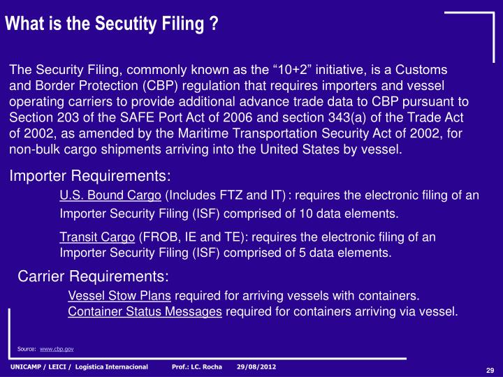 What is the Secutity Filing ?