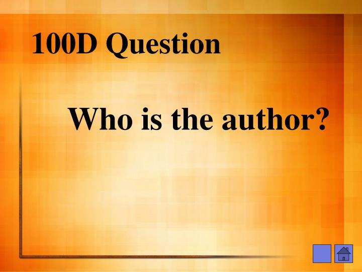 100D Question