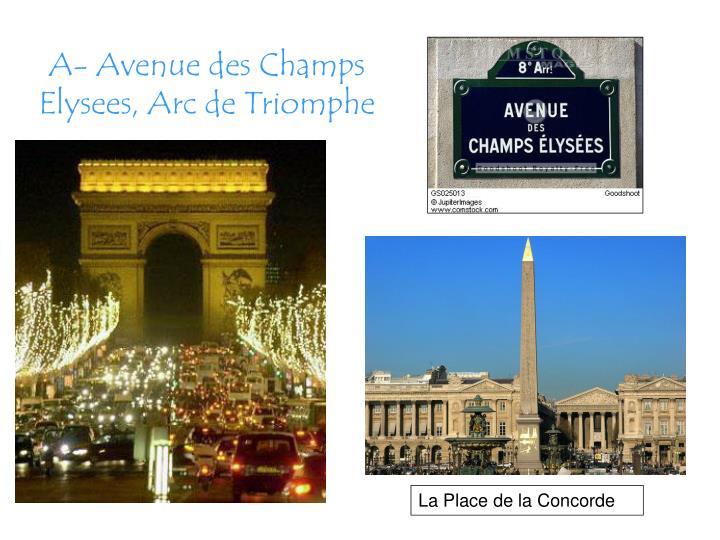 A- Avenue des Champs Elysees, Arc de Triomphe