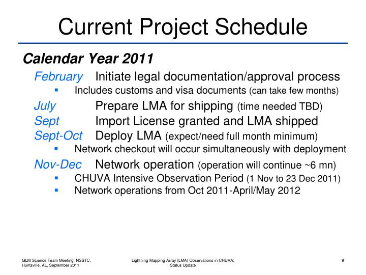 Current Project Schedule