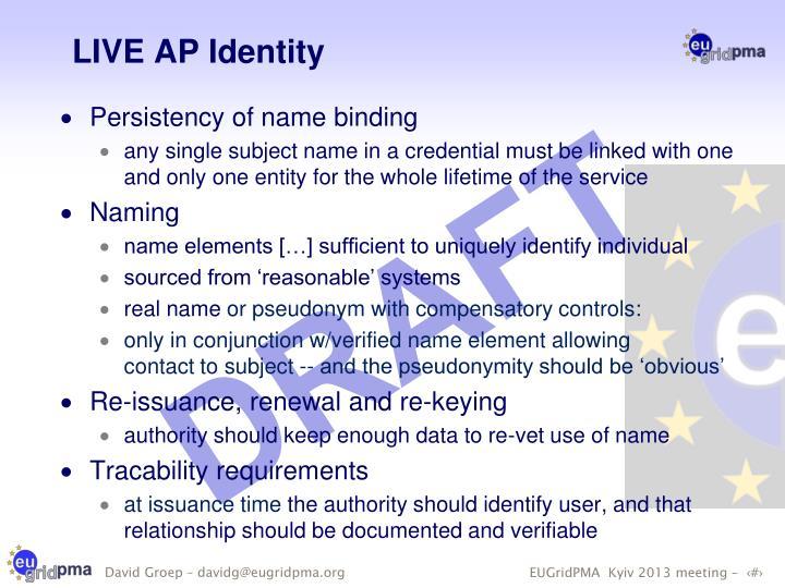 LIVE AP Identity