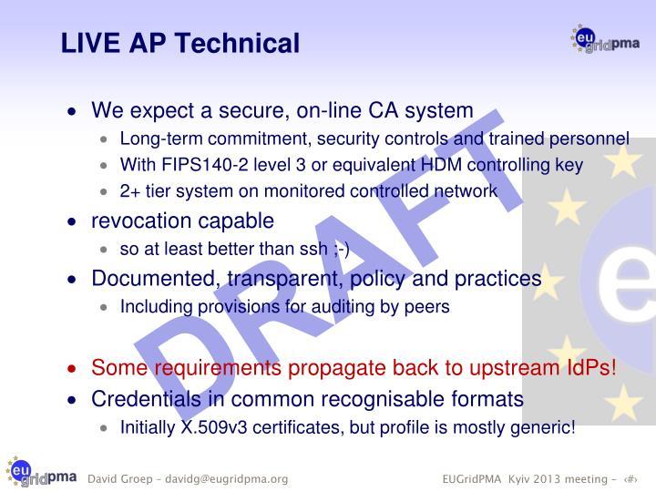 LIVE AP Technical