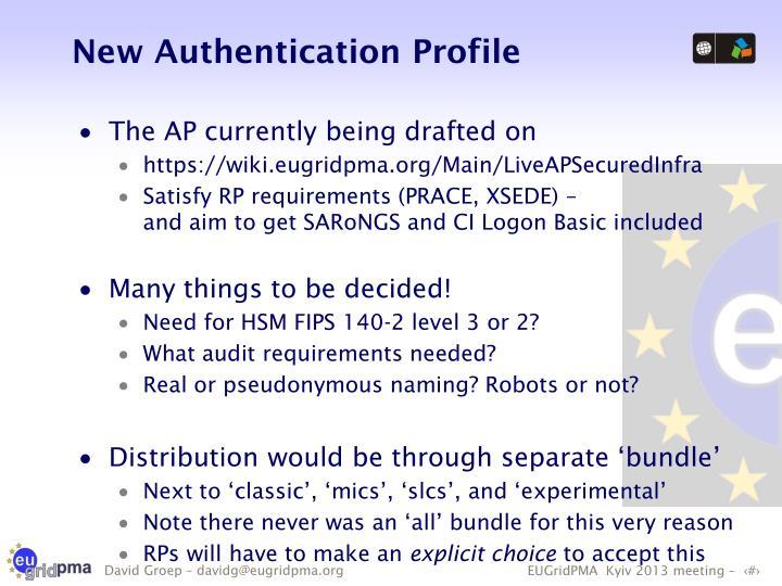 New Authentication Profile