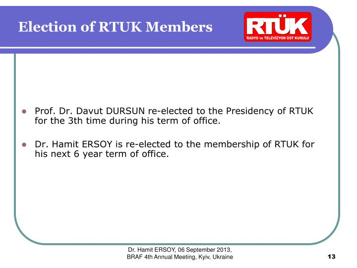 Election of RTUK Members