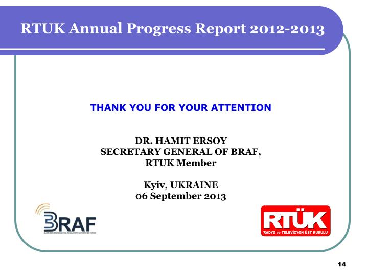 RTUK Annual Progress Report 2012-2013