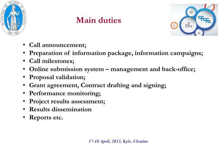 Main duties