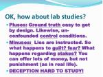 ok how about lab studies