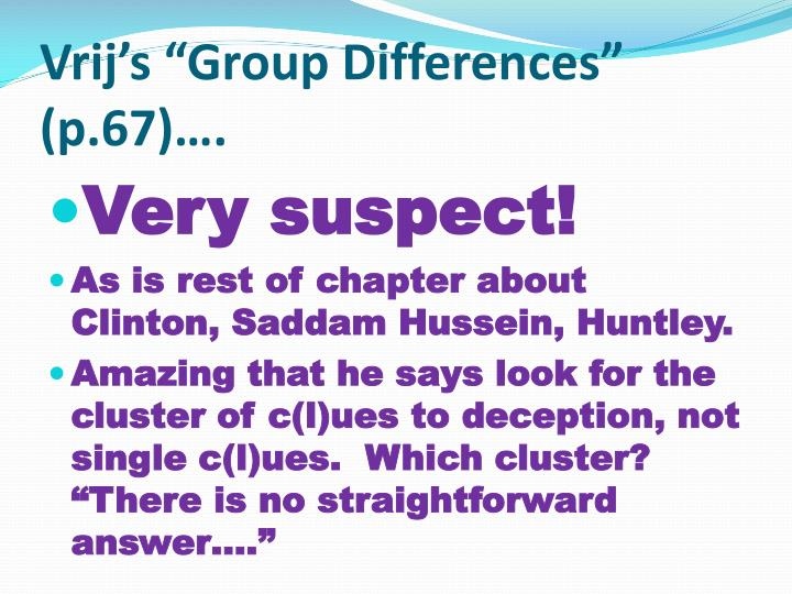 "Vrij's ""Group Differences"" (p.67)…."