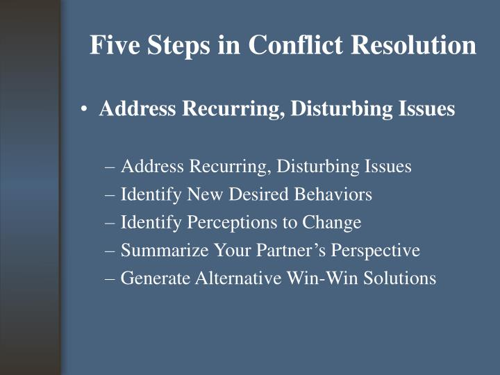 Five Steps in Conflict Resolution