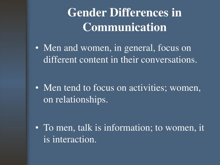 Gender Differences in Communication