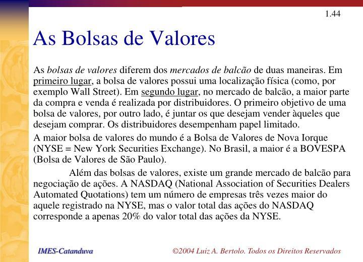 As Bolsas de Valores